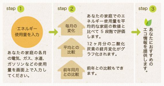STEP1 あなたの家庭の各月の電気、ガス、水道、ガソリンなどの使用量を画面上で入力してください。 STEP2 毎月の変化:あなたの家庭でのエネルギー使用量を平均的な家庭の数値と比べて5段階で評価します。 平均との比較:12ヶ月分の二酸化炭素の経月変化がグラフ化されます。 前年同月との比較:前年との比較もできます。 STEP3 あなたにおすすめのエコ情報を提供します。
